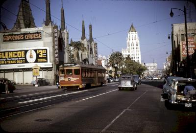 A Pacific Electric Red Car on Hollywood Boulevard on April 11, 1953. Photo: Robert B. Peterson. Orange Empire Railway Museum Library.